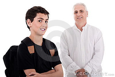 Portrait of young teenager with his grandfather