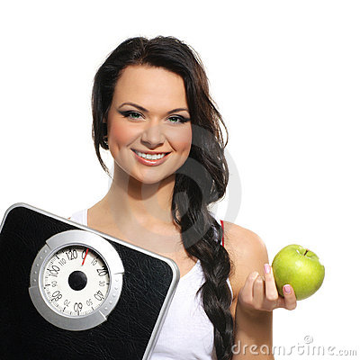 Portrait of young woman as dieting concept