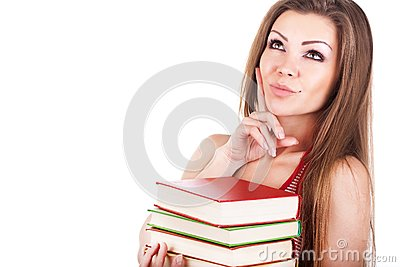 Portrait of a young woman with books isolated