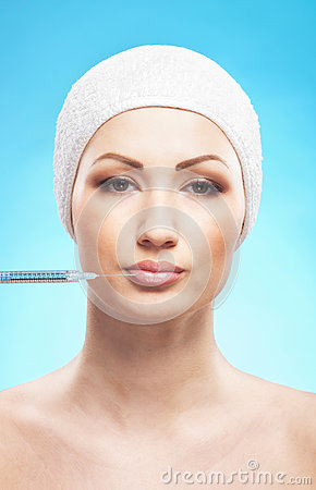 Portrait of a young woman on a botox injection