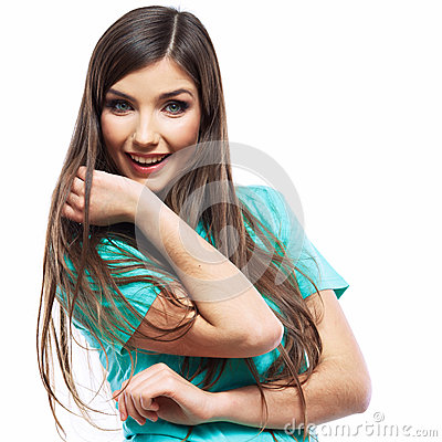 Portrait of young woman casual portrait positive v