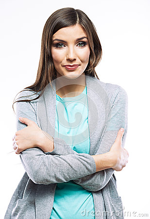 Portrait of young woman casual portrait positive v
