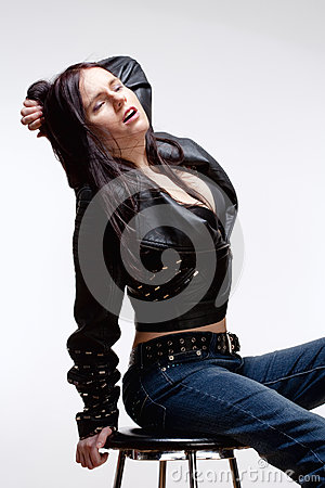 Portrait of a Young Woman in Leather Jacket
