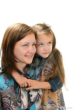 Portrait of young woman and little girl.