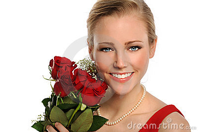 Portrait of Young Woman With Red Roses