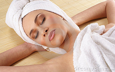 Portrait of a young woman on a spa procedure