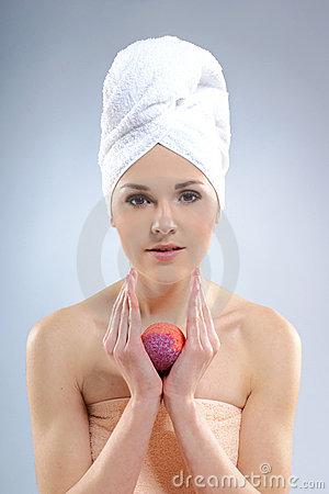 Portrait of a young woman after taking a bath