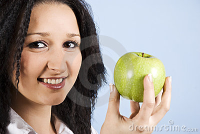 Portrait of youth female  with apple