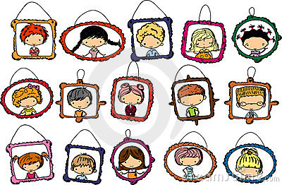 Portraits of children in the frame, vector