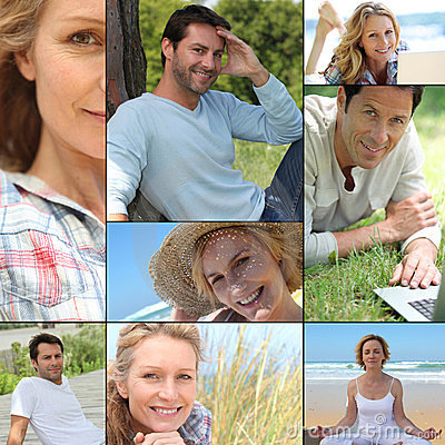 Portraits of people relaxing