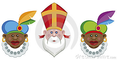 Portraits of Sinterklaas and his colorful helpers