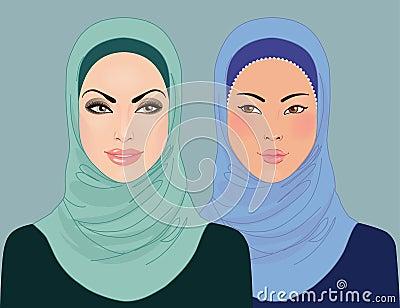 Portraits of two muslim beautiful girls in hijab