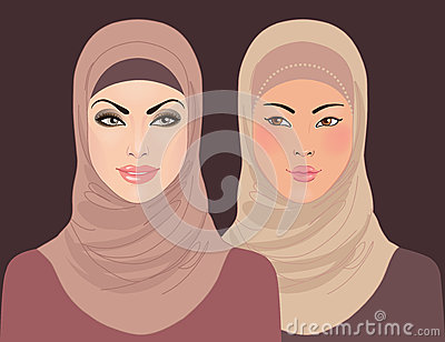 Portraits of two muslim beautiful girls in hijab