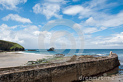 Portreath Beach and harbour cornwall