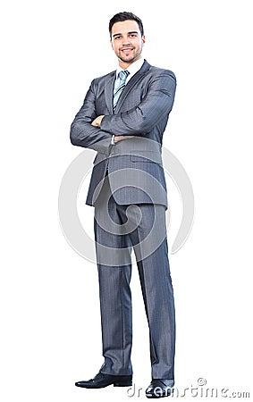 Portret młody szczęśliwy ono uśmiecha się rozochocony biznesowy mężczyzna