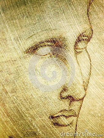 Portret ołówkowy szkic twarzy