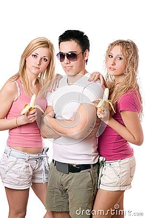 Portret van drie jonge mensen