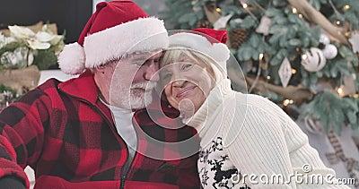 Portret van een positieve blanke vrouw die haar hoofd op de schouder van haar man zet, naar camera kijkt en glimlacht Man stock videobeelden