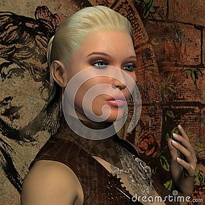 Portret van jonge blonde vrouw met poneystaart
