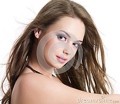 Portret van meisje met mooi gezicht
