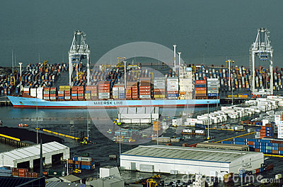 Ports of Auckland in Auckland New Zealand NZ Editorial Stock Image