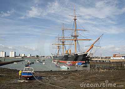 Portsmouth harbour and HMS Warrior Editorial Image