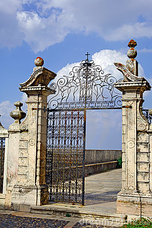 Portugal, area of Alentejo, Estremoz:  Iron door