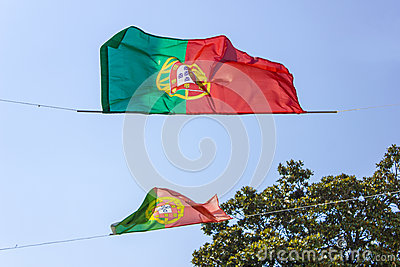 Portugal flags at the wind