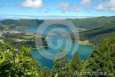 Portugal för lagoa för azores cidadesdas sete