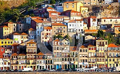 Portugal. Porto city. View of Douro river embankment Editorial Stock Photo
