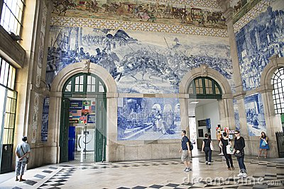 Portugal, porto: old railway station, azulejos Editorial Stock Image