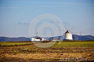 Portugal Rural Landscape with Old Windmill
