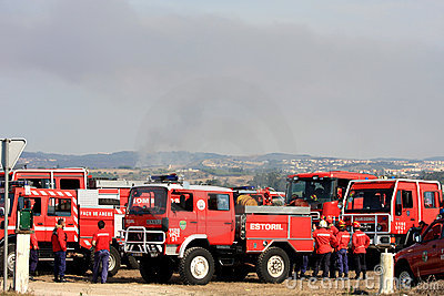 Portuguese firefighters on standby during fires Editorial Photo