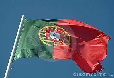 Portuguese flag waving to the wind