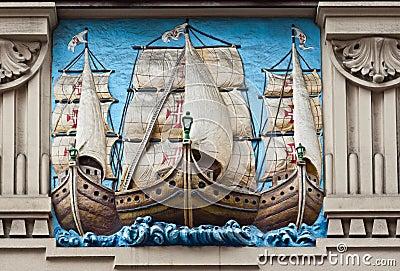 Portuguese Galleons Engraving Santos Brazil