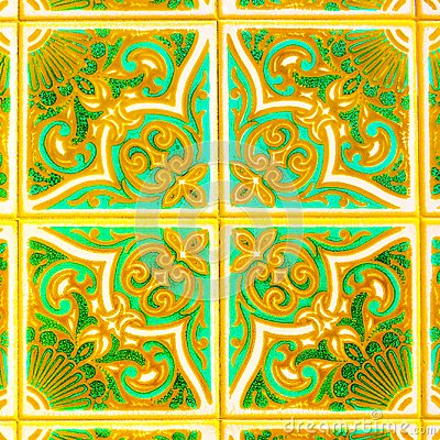 Free Portuguese Retro Glazed Tiles With Geometrical Pattern, Handmade Azulejos, Portugal Street Art, Abstract Background Stock Photography - 117957862
