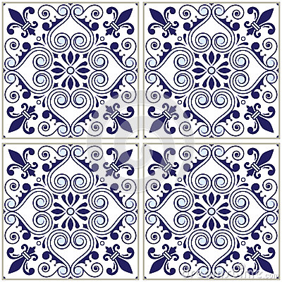 Free Portuguese Tiles Pattern - Azulejo Navy Blue Design, Seamless Vector Blue Background, Vintage Mosaics Set Stock Photos - 96832133
