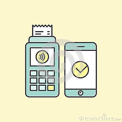 POS terminal confirms the payment made through mobile phone. Concept icons NFC payments in a flat style Stock Photo