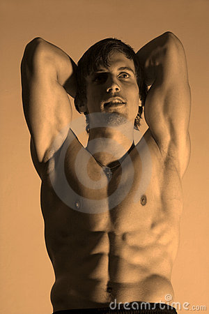 Pose of bodybuilder