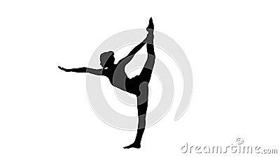 Pose da ioga da silhueta, mulher que faz esticando os pés, separação do pé filme