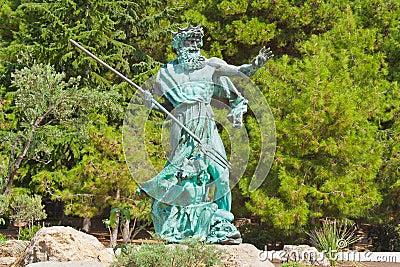 Poseidon statue in park in Crimea