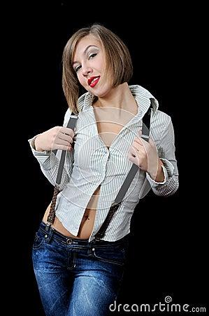 Posing beautiful girl in stripy shirt