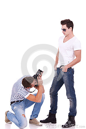 Posing for a professional photographer