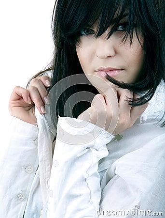 Posing on white