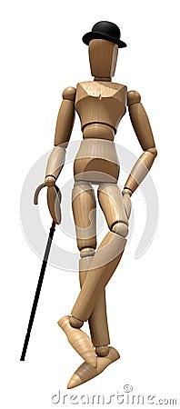 Posing wooden manikin