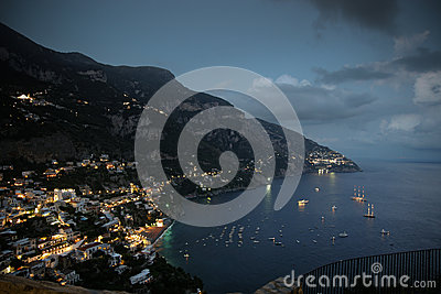 Positano village at night