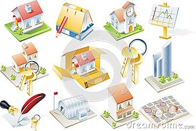 Positionnement de graphisme d immeubles de vecteur