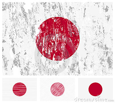 Indicateur grunge du japon a placé sur un fond blanc. illustration