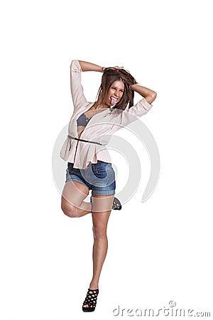Positiv kvinna i kortslutningar