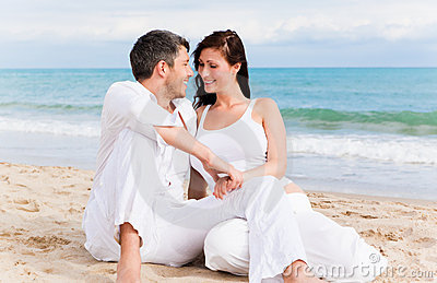 Positive beach couple